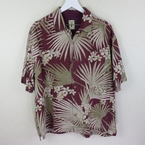 Jamaica Jaxx Silk Floral Palm Hawaiian Shirt